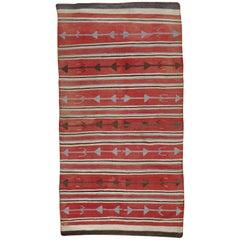 Antique Navajo Carpet, Oriental Rug, Handmade Wool Rug, Red Color