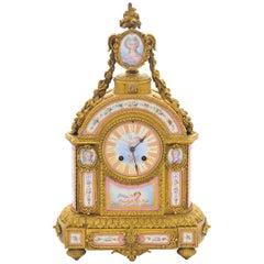 19th Century Pink 'Sevres' Porcelain Mantel Clock
