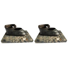 Bronze Ballerina Style Baby Shoes Pair Weights with Marble Base