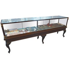 Mahogany Display Case with Glass Lions, circa 1910