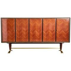 Paolo Buffa Attr Rosewood Parquetry & Brass Art Deco Buffet Cabinet, circa 1950