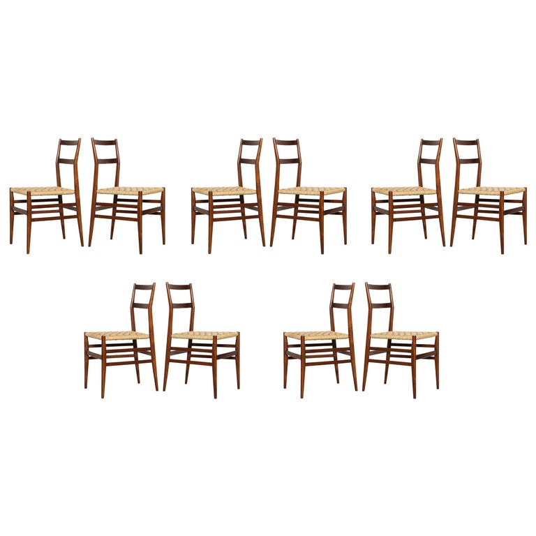 Gio Ponti Dining Chairs Set of 10 For Sale