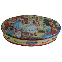 Oval Masquerade Ball Biscuit Tin , England , Mid-20th Century
