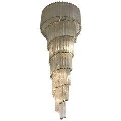 Italian Mid-Century Spiral Glass Chandelier