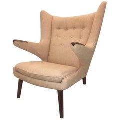 Important Hans Wegner Classic Papa Bear Chair Original Wool Fabric Teak Paws