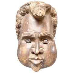 Sculptural French Wood Cherub Mask Carving