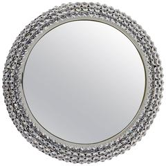 Round Chromed Crystal Backlit Wall Mirror, Austria, 1960s