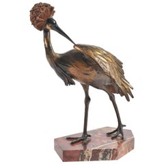 Bronze Statue of a Crane, Signed 'Otto Lang'