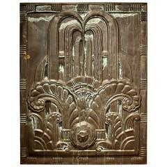 1920s Art Deco Black Tin Architectural Panel from New England Power Company