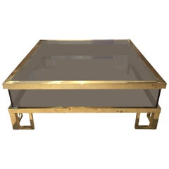 Jansen Brass Vitrine with Sliding Top Cocktail Table