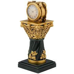Paul Frey Miniature 18-Karat Gold and Jade Clock