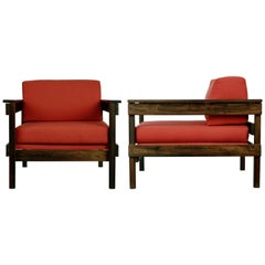 Brazilian Modern Jacaranda Armchairs from Floresta Country Club, Rio, circa 1968