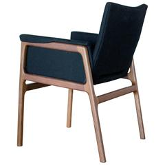 C08 Dining Chair with Solid Walnut Frame and Black Wool Upholstery