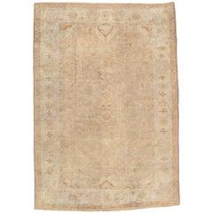 Antique Oushak Carpet, Oriental Rug, Handmade Turkish, Ivory and Soft Coral