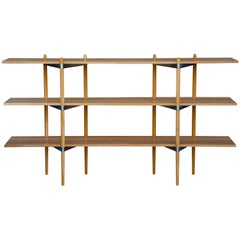"""Casey Lurie Modern Low """"Primo"""" Shelving System in White Oak with Stainless Steel"""