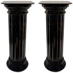 1960s Rare Pair of Italian Art Deco Black Glass Round Columns