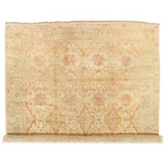 Antique Oushak Carpet, Oriental Rug, Handmade Ivory, Muted Shrimp, Soft Saffron