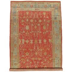 Antique Oushak Carpet, Oriental Rug, Handmade Coral, Ivory and Light Blue, Soft