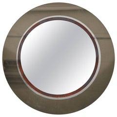 Large Smoked Glass with Patinated Ring Circular Mirror, Circa 1960