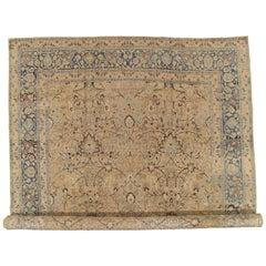 Antique Tabriz Fine Carpet, Handmade Persian Rug in Blue, Taupe, Soft Caramel