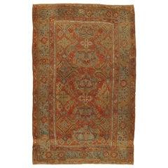 Antique Oushak Carpet, Handmade Oriental Rug made in Turkey, Coral, Light Blue