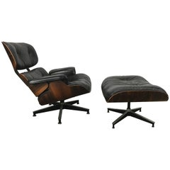 Early Classic Mid-Century Modern 670/671 Eames Lounge and Ottoman Herman Miller
