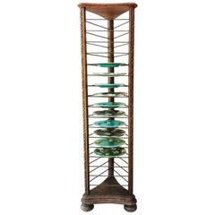 French Carved Plate Rack with Brass Holders, circa 1880