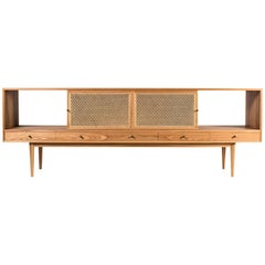 Tinselor Cabinet by Tretiak Works, Elm Credenza with Handcrafted Cane Doors
