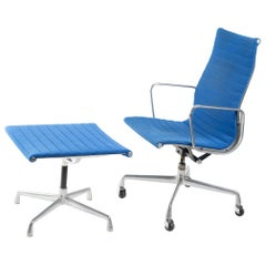 Herman Miller Aluminum Group Soft Pad Chair and Ottoman from 1982