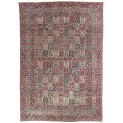 Antique Lavar Kerman Carpet, Handmade Wool Carpet, Multi-Color, Ivory, Red Wine