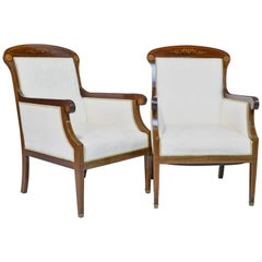 Pair of Art Deco Danish Bergères in Mahogany with Inlays, circa 1910