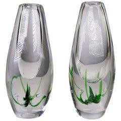 Vicke Lindstrand for Kosta 1962 Swedish Modern Art Glass Seaweed Vases
