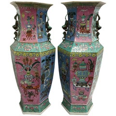 Pair of Chinese Famille Rose Vases or Lamps, 19th Century