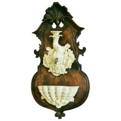 Wall Fountain Dolphin and Shell Sculpture on Carved Oak Panel