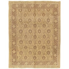 Antique Oushak Carpet, Handmade Oriental Rug, Made in Turkey, Beige, Brown 1910