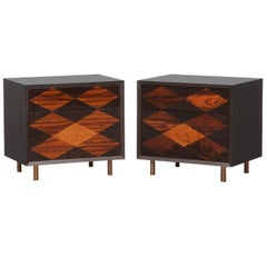 Contemporary Brown Wood Pair of Nightstands by Johannes Hock