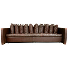 Architectural Leather Sofa by Joseph D'Urso for Knoll International, circa 1980