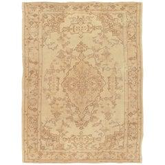 Antique Oushak Carpet, Handmade Turkish Oriental Rug, Beige, Taupe, Soft
