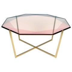 Gem Octagonal Coffee Table / Blush, Brass