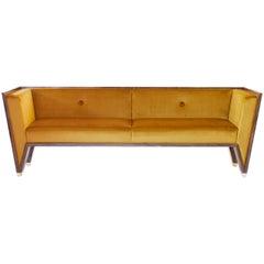 21st Century Handmade Custom Art Deco Sofa with Brass Feet & Velvet Upholstery