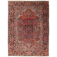 Antique Bakhshaish Carpet, Handmade Oriental Rug, Rust, Ivory, Navy, Light Blue
