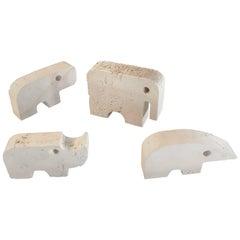 Flli Mannelli Travertine Animals: Elephant, Anteater, Hippo, & Rhino for Raymor