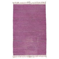 Vintage Minimalist  Berber Monochrome Purple Kilim Rug