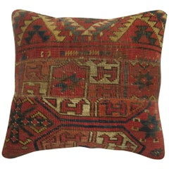 Antique Rug Pillow from 19th Century Turkeman Rug