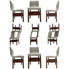 12 'Chelsea' Dining Chairs by Introini, Saporiti 1966, Upholstery Fully Restored