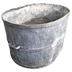 Very Large Oval French Zinc Tub Planter or Fountain