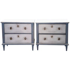 Pair of Blue and White Painted Two-Drawer Chests