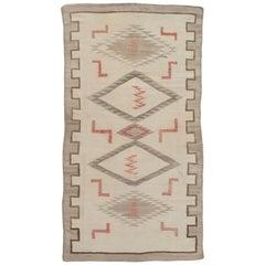 Antique Navajo Carpet, Folk Rug, Handmade Wool, Beige, Gray, Neutral