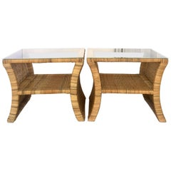 20th Century Pair Of Woven Rattan Glass Top Side Tables