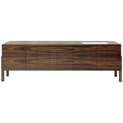 """Lina"" Modernist Style Woodwork Natural Walnut Credenza with Drawer"